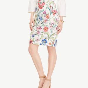 Ann Taylor Floral Jungle White Pencil Skirt